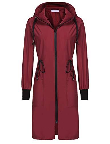 ELESOL Raincoat Women Waterproof Light Hiking Rain Jacket Hooded Windbreaker Wine Red