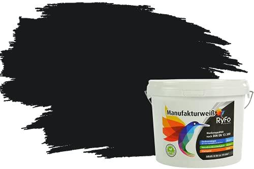 RyFo Colors Bunte Wandfarbe Manufakturweiß Schwarz 3l - weitere Grau Farbtöne und Größen erhältlich, Deckkraft Klasse 1, Nassabrieb Klasse 1