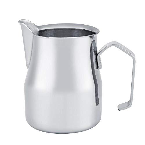 Fditt Brocca per caffè in Acciaio Inox Bricco per Latte in Acciaio Brocca per caffè Espresso Stile Latte per Uso Domestico(350ML)
