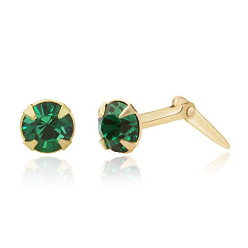 9ct yellow gold 3.5mm round Emerald crystal Andralok stud earrings/Gift box