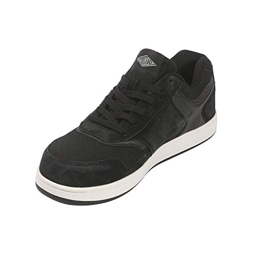 Steel Edge Skater Style Safety Toe Athletic Shoes for Men, Solid Rubber Outsole Skate Shoes, Slip-Resistant Sneakers for Men, Electric Hazard Protection Steel Toe Shoes Men, Pig Suede Leather Black