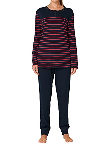 Schiesser Damen Lang 161098 Zweiteiliger Schlafanzug, Blau Rot Gestreift, 44 EU