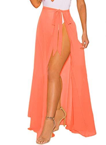 LIENRIDY Women's Sarong Cover Up Wrap Beach Skirt Swimsuit Bikini Summer Coral Orange Long S-M