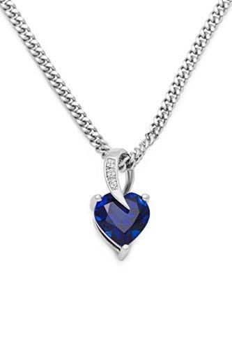Miore Collana Donna con Catena, Cuore Zaffiro Blu Argento 925 Catenina Cm 45