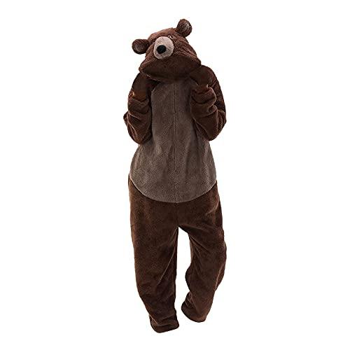 Dasongff Adulte Unisexe Animal Costume Cosplay Ours Combinaison Pyjama Outfit Nuit Costume d'animaux Pyjama Onesie Carnaval Halloween Fête de Noël Costume d'hiver en Peluche pour Femme et Homme