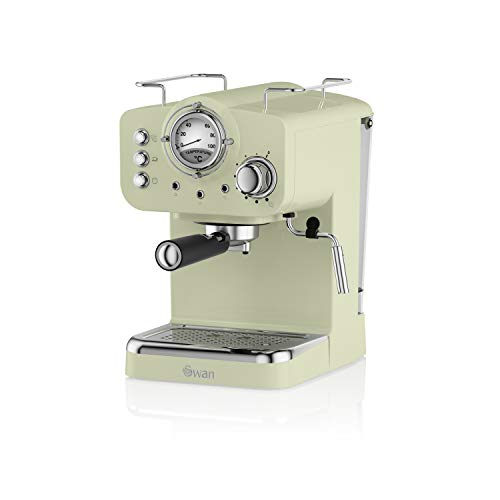 Swan SK22110GN Cafetera Espresso, 1100 W, Acero Inoxidable, Retro. Verde, 1.2 litros