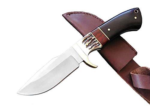 Browning Gürtelmesser Fahrtenmesser Stahl feststehende Klinge geschmiedet Tierknochen Hickory Ebony holzgriff handgefertigt Outdoor Fahrtenmesser Jagdmesser mit Leder Scheide