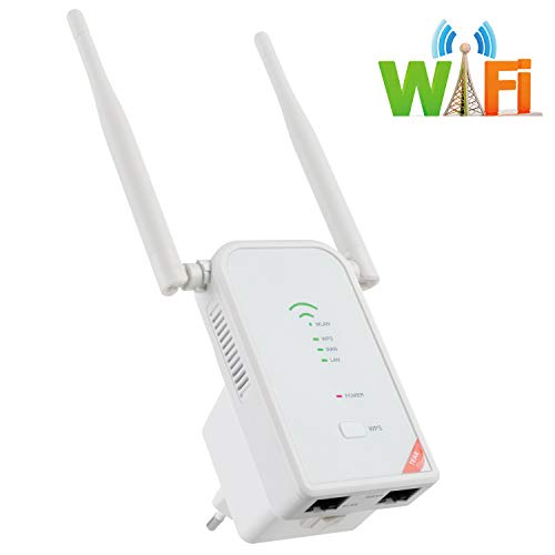 Snowsound WiFi Repetidor Router,300Mbps Enrutador Inalámbrico 2.4 G Amplificador Extensor,Puerto LAN/WAN Ethernet,Wireless -N Booster 2 Antenas para Mejorar la Señal Wi-fi en Casa