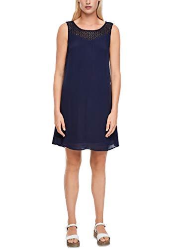 s.Oliver Damen Crêpe-Kleid mit Spitzenpasse dark blue 44