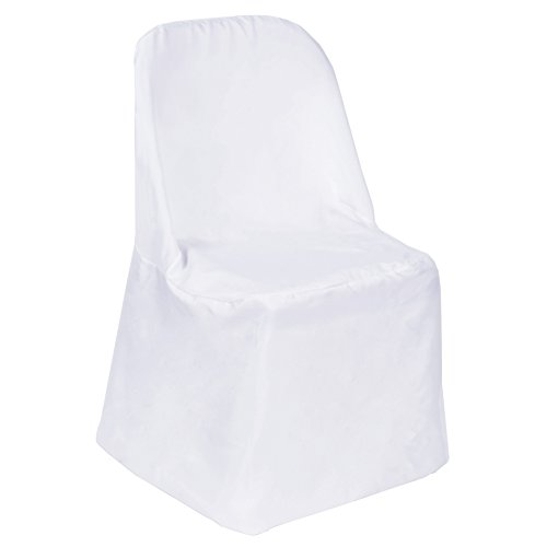 BalsaCircle 50 pcs White Polyester Folding Chair Covers Linens for Wedding Reception Party Supplies Decorations