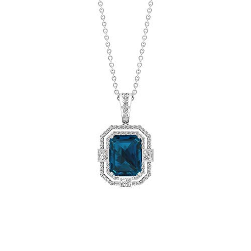 Rosec Jewels 10 quilates oro rosa redonda Octagone princess-shape Blue Topacio azul - Londres Diamond