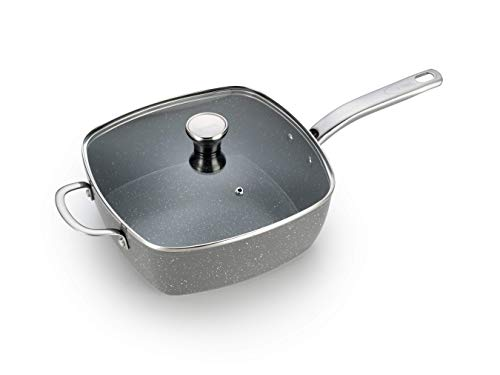t fal roasting pans T-fal C41240 Endura Granite Ceramic Nonstick Thermo-Spot Heat Indicator Dishwasher Oven Safe PFOA Free Square Pan with Lid Cookware, 10.5-Inch, Gray