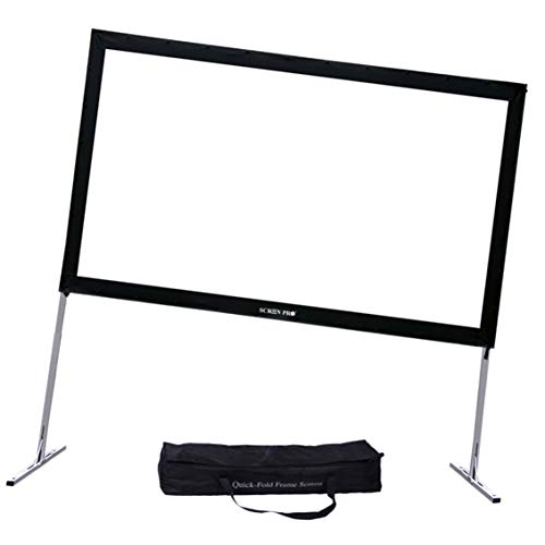 """Projector Screen with Stand 144inch, SCREENPRO Portable Fast-Folding Projector Screen with (Max 20.7"""") Adjustable Leg and Carry Bag, 16:9 HD 4K Indoor/Outdoor Projector Screen for Home Theater"""