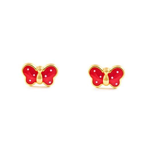 Monde Petit T1663P - Pendientes de bebe/niña oro 18 kts. mariposa esmaltada, color rojo
