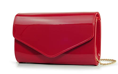 Made with high quality PU leather, Glossy & Stylish Style; Must -have Party Evening clutch, Magnetic snap closure; equipped with a detachable cross-body strap so you can go hands-free. Size: 9.5(L) x 5.7(H) x 2.4(W)inches; polyester lining with a int...