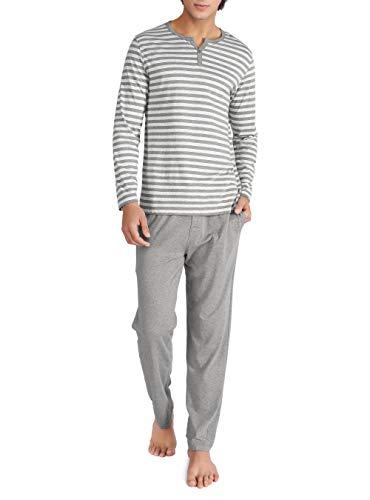 Genuwin Herren Zweiteiliger Schlafanzug Lang Pyjama Set aus 100{87c45eef3bd56fcee9d543094388779f5ee889644521d9bf192da20c4ea4b27a} Baumwolle Nachtwäsche für Männer - Streifen T-Shirt & Lange Hose, 1 Set (L, Heidekraut Dunkelgrau)