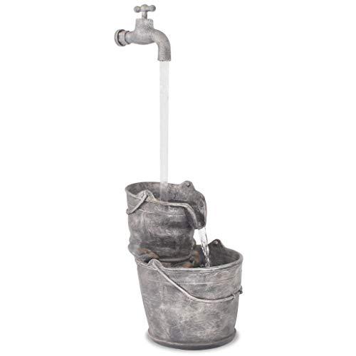 yorten Zimmerbrunnen, Tischbrunnen, Dekobrunnen, Wasserspiel mit Hahn und Eimern Polyresin Grau 34 x 32 x 91,5 cm