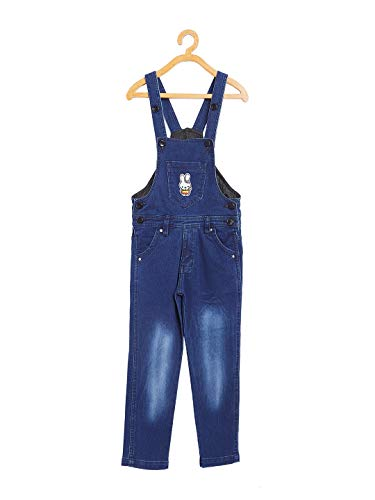 FirstClap Boy's and Girl's Denim Full Length Dungaree Jumpsuit (Dark Blue, 5-6 Years)