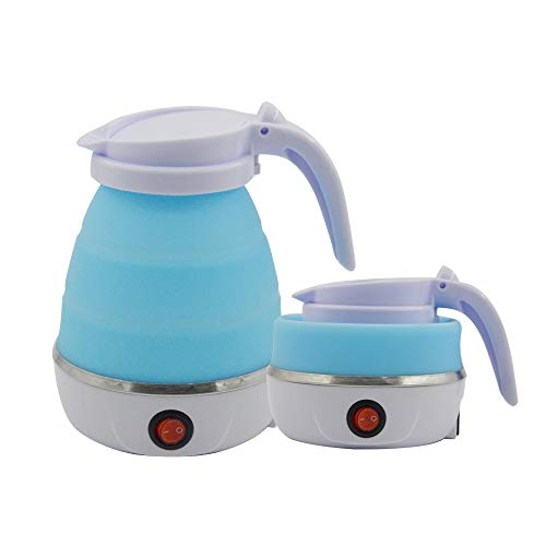 Travel Foldable Electric Kettle, 5 Mins Quick Boiling Portable Travel Kettle, Food Grade Silicone Kettle with Separable...