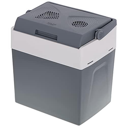 Adler AD 8078 - Frigorifero elettrico portatile, 30 litri, da campeggio, 12 V e 220-240 V, per auto, raffreddamento e riscaldamento, modalità risparmio energetico, colore: grigio