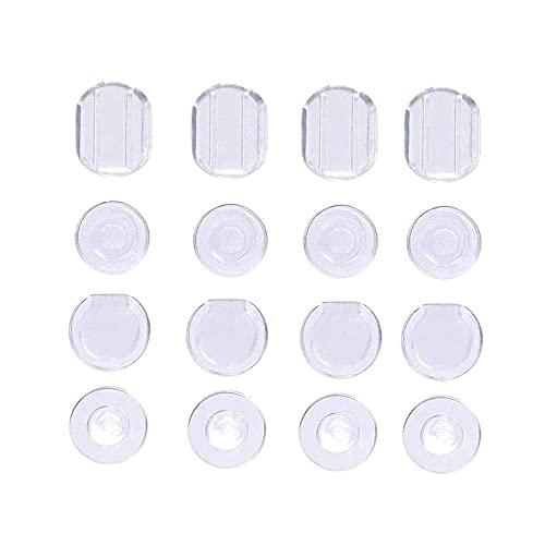 100 tappini in silicone per orecchini, da applicare sul retro degli orecchini, 4 forme, trasparenti