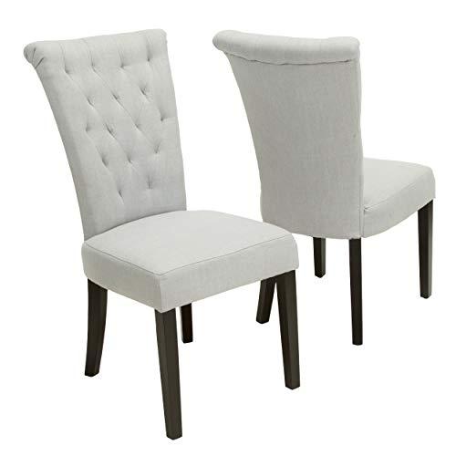 Christopher Knight Home 238620 Venetian Dining Chairs, 2-Pcs Set, Light Grey