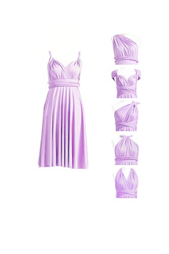 72STYLES Bridesmaid Infinity Dresses Wedding Convertible Party Cocktail Wrap Dress with Bandeau Lavender