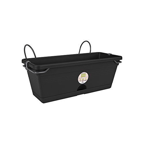 Elho Green Basics Trough Allin1 Jardinera, 2.5 litros, Negro, 30,2X19,5X15,6 cm
