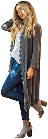 3 4 Sleeve Lace Trim Cardigan Charcoal 3X product image