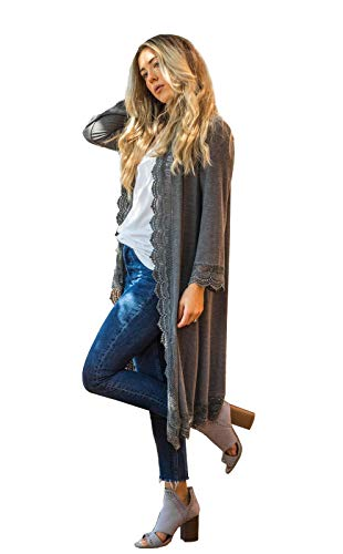 Tickled-Teal-Womens-34-Sleeve-Lace-Trim-Casual-Wrap-Cardigan-Coverup-Outerwear-Sweater