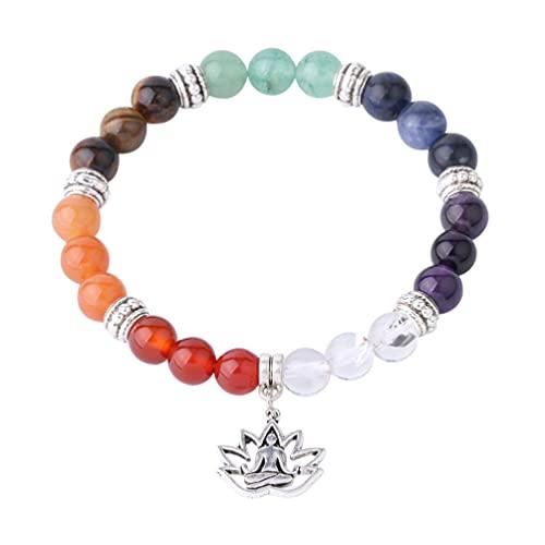 HEALLILY Pulsera de Piedra de Cristal Pulseras de Piedras Preciosas de Chakra Pulsera de Yoga Pulsera de Relajación Y Ansiedad para Mujeres Y Hombres