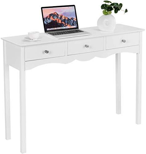 GIANTEX - Mesa consola vintage con 3 cajones, mesa de entrada compacta, ideal para salón, entrada, salón, blanco, 100 x 75 x 32 cm