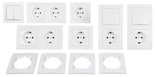 MC POWER - FLAIR - Wand Steckdosen und Schalter Set | Standard plus | 21-teilig | weiß, matt