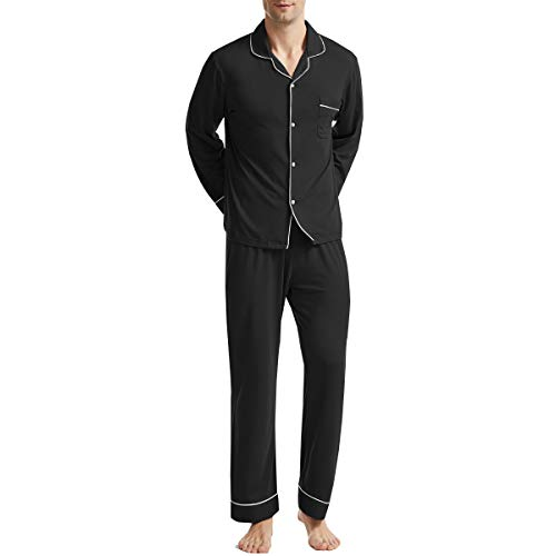 BAMBOO COOL Men's Pajama Set Lightweight Long Sleeve Button Down Soft Bamboo Sleepwear for Men Black