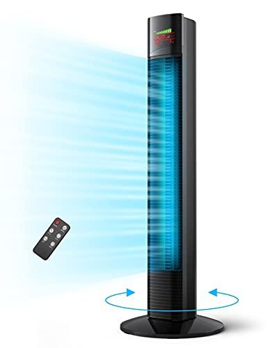 Turmventilator 44dB leise Ventilator mit Fernbedienung 90CM Standventilator 12Std. Timer Säulenventilator 65°Oszillation Raumventilator 9 Geschwindigkeitsstufen 3 Modell Home Büro Voll Schwarz