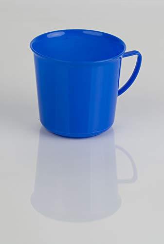 Kimmel Tazza con manico, tazza da tè, tazza da caffè, riutilizzabile, infrangibile, 330 ml, plastica, blu