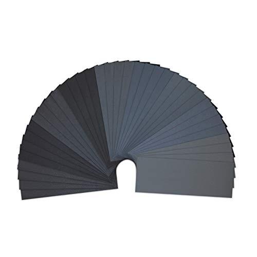 Lot de 36 Papier de Verre, LANHU Papier Abrasif 23 x 9.3cm à Sec à l'Eau 400/600/800/1000/1200/1500/2000/2500/3000 (4 x 9) Feuilles/Grains
