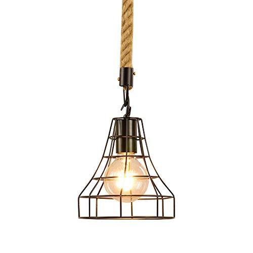 WEM Lámpara colgante vintage, jaula de alambre, pantalla de metal, suspensión, iluminación, luces colgantes rústicas para comedor, bar, restaurante, cafetería, lámpara de techo de cuerda de cáñamo aj