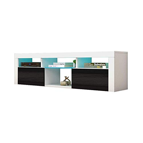 """MEBLE FURNITURE & RUGS Bari 160 Wall Mounted Floating 63"""" TV Stand with 16 Color LEDs White/Black"""