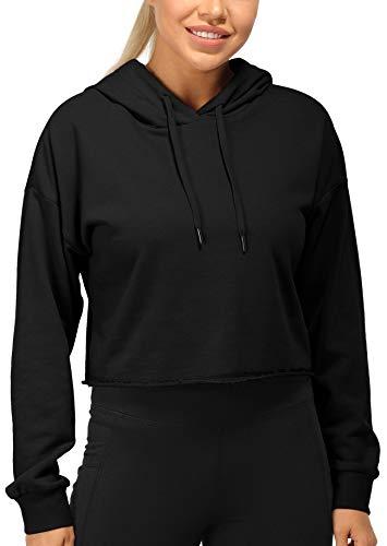 icyzone Sudaderas de entrenamiento para mujer – Sudadera de manga larga con capucha - negro - Large