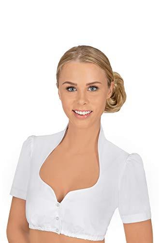 Alpenglanz Dirndlbluse weiß Sonja 006994, mit gerade geschnittenen Ärmeln, eleganter Schalkragen und Herzausschnitt, Knopfleiste vorne, exklusiv 38