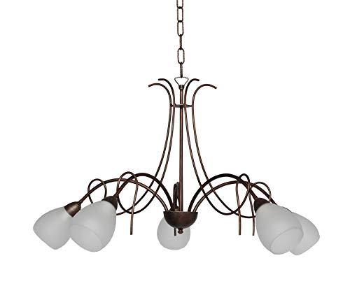 VALFB1320 SP5 NRMO SOLANGE Lampadario a sospensione in ferro battuto 5 luci con vetri satinati Made in Italy Prodotto da Valastro Lighting (ORO/ANTICO)