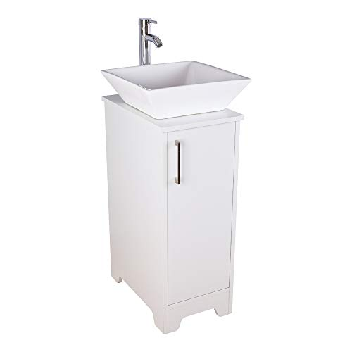 Okeysen 13'' Bathroom Vanity and Sink Combo, White Vanity for Small Space, Square Porcelain Ceramic Sink Bowl, 1.5 GPM Water Save Faucet & Solid Brass Pop Up Drain. (A07B08W)