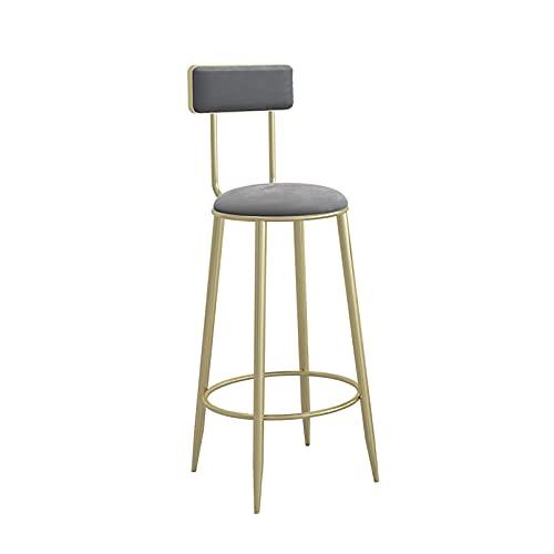 Taburete tapizado con Altura de mostrador, sillas de Bar con Respaldo y reposapiés, Asiento tapizado de Terciopelo, Patas de Metal Negro, taburetes de Bar con Altura de Barra para Isla de Cocina y p