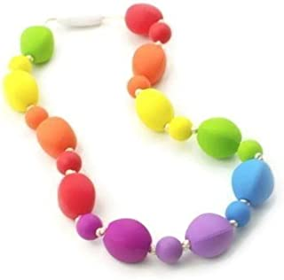 Chew Necklace Silicone Oral Sensory Autism ADHD Chewable Child Size 18`` - Bitey Beads (Rainbow)
