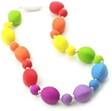 Chew Necklace Silicone Oral Sensory Autism ADHD Chewable Child Size 18'' - Bitey Beads (Rainbow)