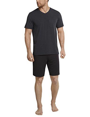 Schiesser Herren Anzug kurz Zweiteiliger Schlafanzug, Grau (Anthrazit 203), Small (Herstellergröße: 048)