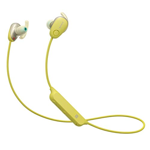 Sony WI-SP600N Premium Waterproof Bluetooth Wireless Extra Bass Sports in-Ear 6 Hr of Playback Headphones/Microphone (International Version) (Yellow)