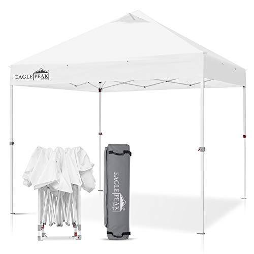 EAGLE PEAK 10' x 10' Commercial Canopy Tent Pop Up Instant Canopy Shelter with 100 Square Feet of Shade (White)