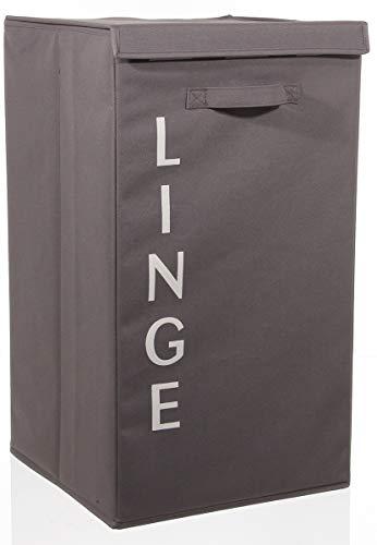 PEGANE Lot de 2 paniers à Linge Taupe, Hauteur 65 x Profondeur 30 x Largeur 39 cm
